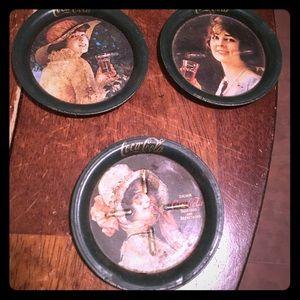 Vintage tin coasters